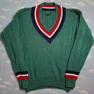 Vtg Izod Lacoste Tennis Cable Knit V-Neck Sweater
